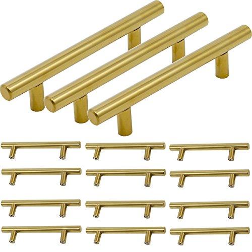 Brass 6 Pull Handle (Probrico Brushed Brass Modern Bathroom Drawer Handle Kitchen Cupboard T Bar Knobs Dresser Gold Bar Pulls Set - 3-4/5 Inch Hole Centers - 15 Pack)