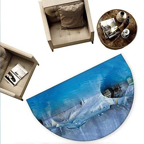 Blue Half Round Door mats Marble Cave General Carrera Lake in Chile Natural Wonders Rocks Azure Water Bathroom Mat H 63