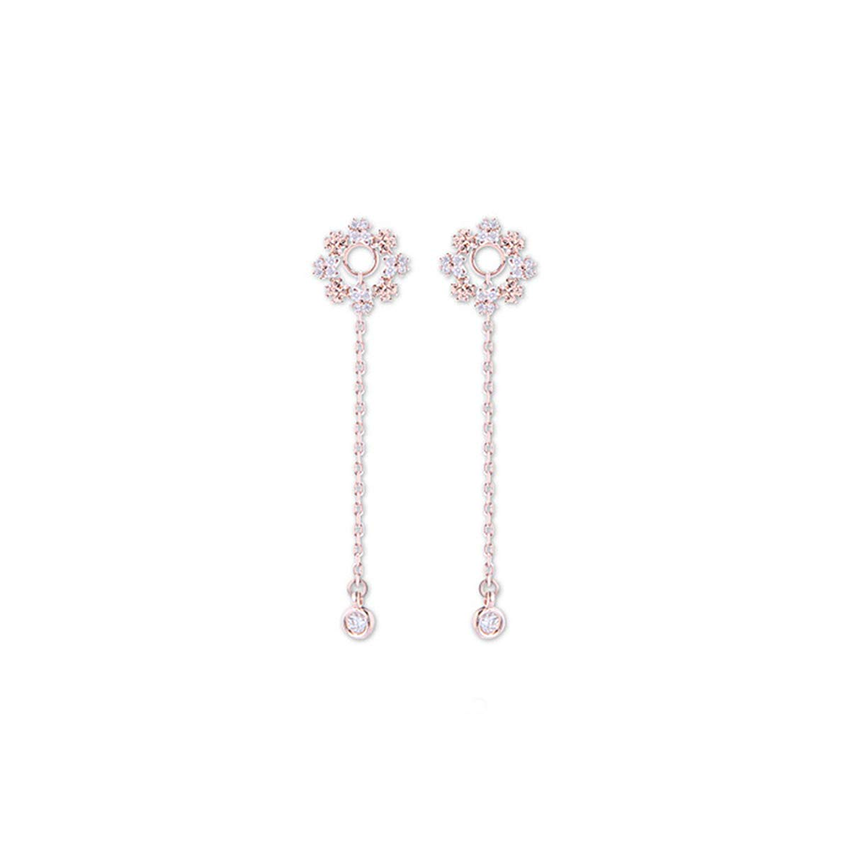 4xtyle Trisha Snow Flower Drop /& Dangle Earrings Cubic Brass White Rosegold Plated
