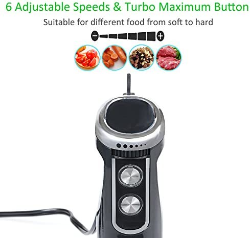 600W Batidora de Mano de 6 Velocidad Ajustable y Turbo Incluyen Picadora 500ml de Carne y Verduras, 700ml de Vaso Medidor, Batidor de Varillas - Negro: Amazon.es: Hogar