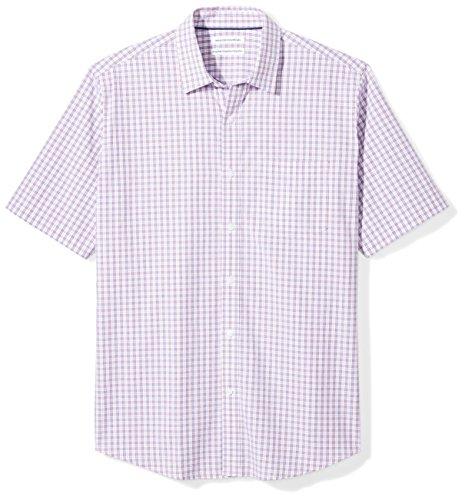 Amazon Essentials Men's Regular-Fit Short-Sleeve Casual Poplin Shirt, red/blue plaid, -