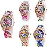 CdyBox Women Ladies Girls Floral Dial Silicone Band Analog Watches Rose Gold Tone Numbers (5 Pack)