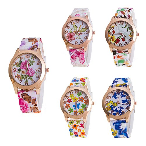 CdyBox Women Ladies Girls Floral Dial Silicone Band Analog Watches Rose Gold Tone Numbers (5 Pack) (Dial Watch Floral)
