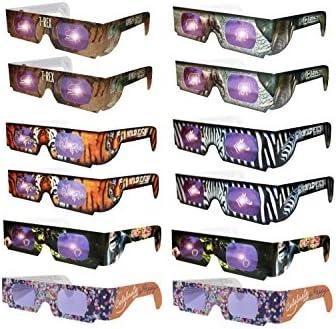 Wild Eyes 3D 안경 - 12팩 웃는 얼굴 안경 2개 안경을 보고 호랑이 원숭이 얼룩말 T-Rex 코끼리 또는 웃는 얼굴이 눈 앞에 나타납니다 (12팩) / Wild Eyes 3D 안경 - 12팩 웃는 얼굴 안경 2개 안경을 보고 호랑이 원숭이 얼룩말 T-Rex 코끼리 또는 ...