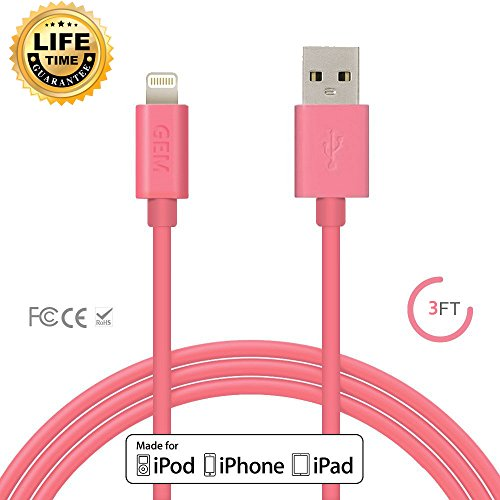 Apple MFi Certified, Gembonics 8 Pin Lightning to USB Cable 3ft Sync & Charger with Ultra-Compact Connector for...
