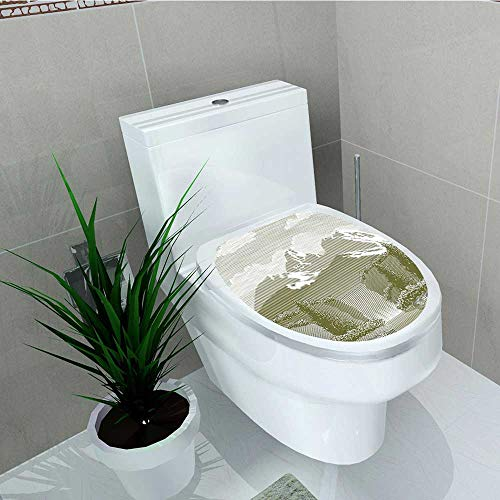 Philip C. Williams Decal Wall Art Decor Woodcut Style Mod of Stream and Paradise Art Sage Green Bathroom Creative Toilet Cover Stickers W13 x L13 ()