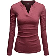 TheLees Womens Fitted Tee V-neck Long Sleeve Daily Cotton Tshirts