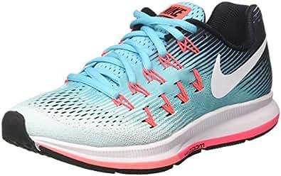 Nike Wmns Air Zoom Pegasus 33, Zapatos para Correr Mujer, Turquesa (Glacier Blue/White/Polarized Blue/Black), 35.5 EU