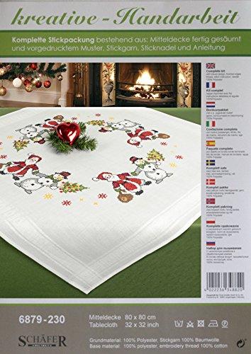 Stickpackung DREAMTEAM / Komplettes vorgezeichnetes Kreuzstich Tischdecken Set / Winter Stickset mit Stickvorlage für Erwachsene / Sticken zur Adventszeit und Weihnachten
