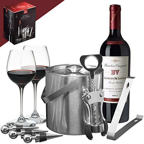 ne Set — Deluxe 6 Piece Includes: Stainless Steel Double Walled Ice Bucket with Lid, Ice Tong, Bottle Opener, 3 Bottle Stoppers, For Any Occasion Great Holiday Gift (Martini Pub Table)