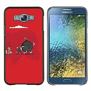 TECHCASE---Cubierta de la caja de protección para la piel dura ** Samsung Galaxy E7 E700 ** --Cute Funny Bomba & Son