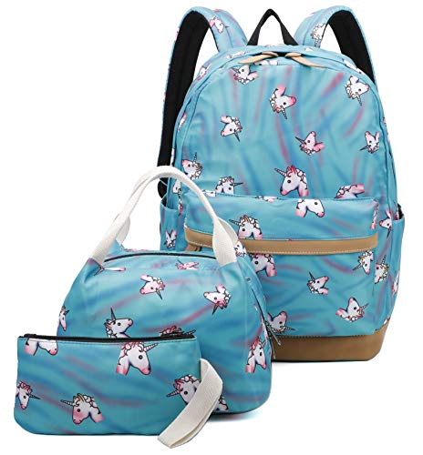 Ulgoo Girls School Bags Kids Bookbags Teens Bookbag Set Kids Laptop Backpack Lunch Box Purse (Rainbow Blue)