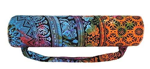 "Indian Handmade Cotton Mandala Hippie Ombre Portable Yoga Mat Carry Gym Bag Shoulder & Handbag Design Women Bag (Size-27""X10"" Strap-45"") With Shoulder Strap Carrier Bags By Panchal Creation PC-01"
