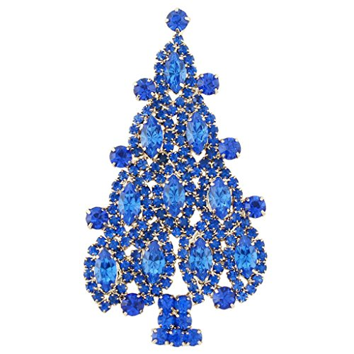 Austrian Crystal Tree Christmas - EVER FAITH 4 Layers Christmas Tree Brooch Austrian Crystal Blue Sapphire Color Gold-Tone