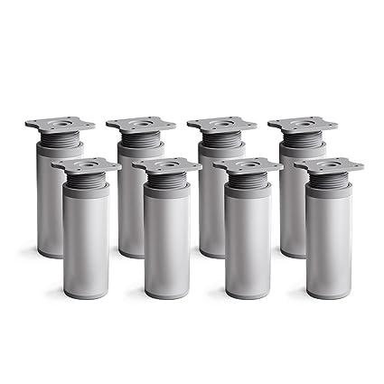 Patas para muebles, 8 piezas, altura regulable | Perfil redondo: Ø 40 mm | Sossai MFR1-AL060-8 | Diseño: Alu | Altura: 60mm (+20mm) | Tornillos ...