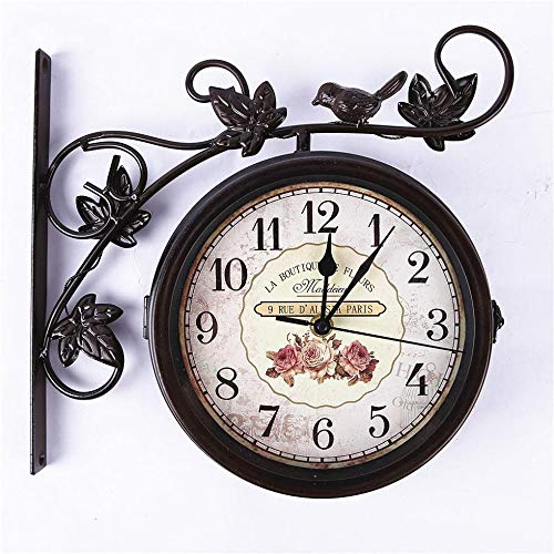 - LZH-GE Idyllic Wrought Iron Double-Sided Wall Clock 14 inches, Birdie