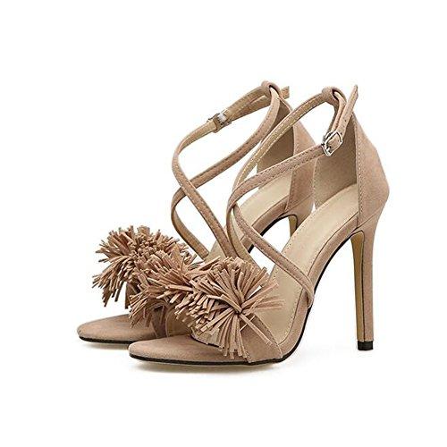 e scarpe tacco donna Fine pizzo da col Europa Stati in alto Rosa SHINIK Scarpe New toel Estate Uniti da Open Scarpe Tassel con donna HTzfpIq