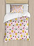 Ambesonne Kids Duvet Cover Set Twin Size, Cute Japanese Food Icons Rice Ball Cherries Asian Kawaii Anime Pattern Design, Decorative 2 Piece Bedding Set with 1 Pillow Sham, Pink Multicolor