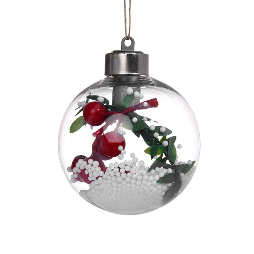 CYCTECH Christmas Balls Light Ornaments Plastic Shatterproof Christmas Tree Decorations Pendant Party Wedding Hanging Ball (B)
