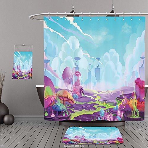 Uhoo Bathroom Suits & Shower Curtains Floor Mats And Bath Towels 359072243 Illustration A Mystery Wonderland. Realistic Fantastic Cartoon Style Artwork Scene, Wallpaper, Game Story Background, Card De