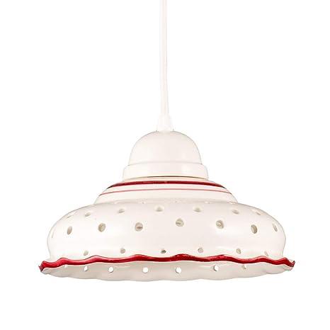 Helios Leuchten 207143 Kleine cerámica colgante lámpara colgante lámpara de proyección cerámica cerámica blanco rojo pintado