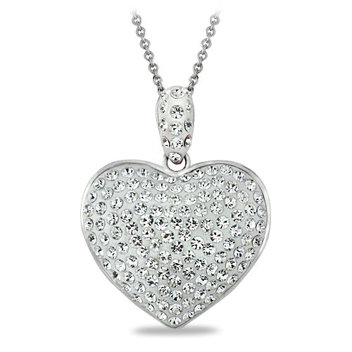 Clear Heart Necklace (Bria Lou Silver Flashed Clear Heart Cluster Pendant Necklace Made with Swarovski Crystals, 18
