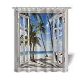"Gwein Windows Summer Beach Palm Trees Ocean Bath Home Decor of Waterproof Bathroom Polyester Fabric Mildew Resistant Shower Curtain 60""(w)x72"" (h)Inch With 12 Hooks"