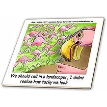 Londons Times Offbeat Cartoons birds - Tacky Pink Flamingos - 8 Inch Ceramic Tile (ct_22926_3)