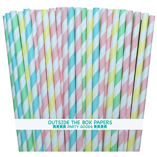 Price comparison product image Outside the Box Papers Pastel Stripe Paper Straws 7.75 Inches 100 Pack Light Blue,  Pink,  Yellow,  Mint Green,  White