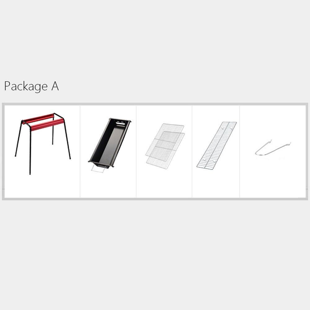 バーベキューステンレス鋼屋外折りたたみグリルホーム炭BBQツールポータブルピクニックシルバー (Color : Red, Size : Package A) B07DW5NMLN Package A|Red Red Package A