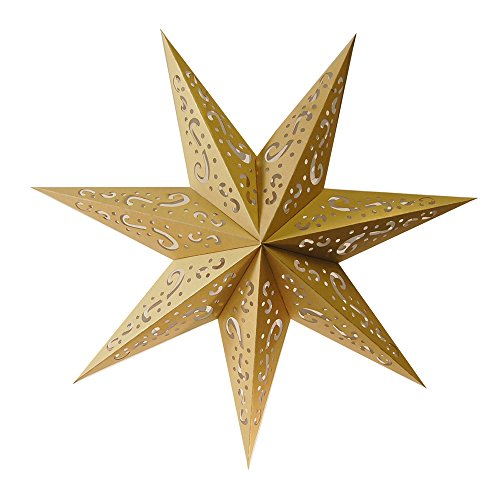 LumaBase Paper Lantern 7 Pointed Star, Gold