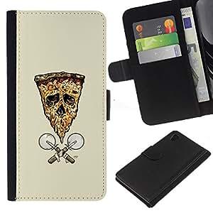 JackGot ( Pizza Skull Flag ) Sony Xperia Z4v / Sony Xperia Z4 / E6508 la tarjeta de Crédito Slots PU Funda de cuero Monedero caso cubierta de piel
