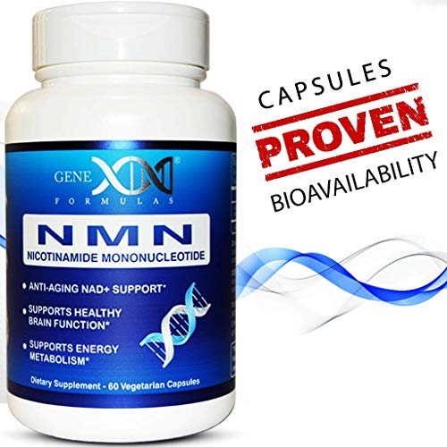 NMN 250mg Serving Nicotinamide Mononucleotide Direct NAD+ Supplement, Anti Aging DNA Repair & Healthy Metabolism (2X 125mg Capsules 60ct).