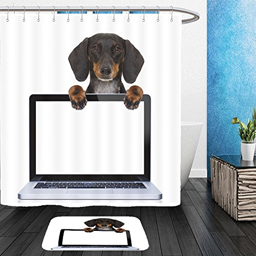 Vanfan Bathroom 2?Suits 1 Shower Curtains & ?1 Floor Mats dachshund or sausage dog behind a laptop pc computer screen isolated on white background 601154711 From Bath room