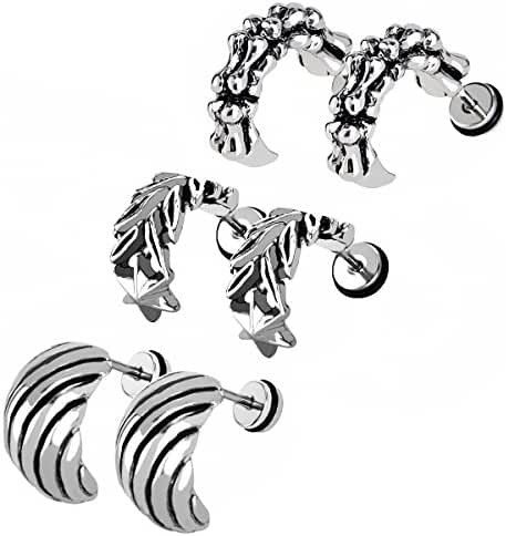 Men Unisex Stainless Steel Half Hoop Claw Tail Feather Leaf Piercing Screw Stud Earrings