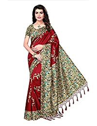 Shonaya Women`S Maroon Colour Mysore Silk Printed Saree with Unstitched Blouse Piece