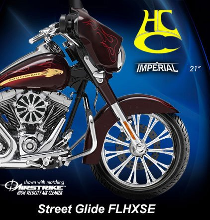RC Components Imperial Chrome 21 Ft Wheel RCFWP21-07-IMPL Avon Tire Package for 2000-2007 Harley-Davidson Touring models