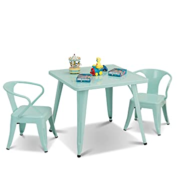 Miraculous Costzon Kids Table And 2 Chairs Set For Indoor Outdoor Use Steel Table And Stackable Chairs Preschool Bedroom Playroom Home Furniture For Camellatalisay Diy Chair Ideas Camellatalisaycom