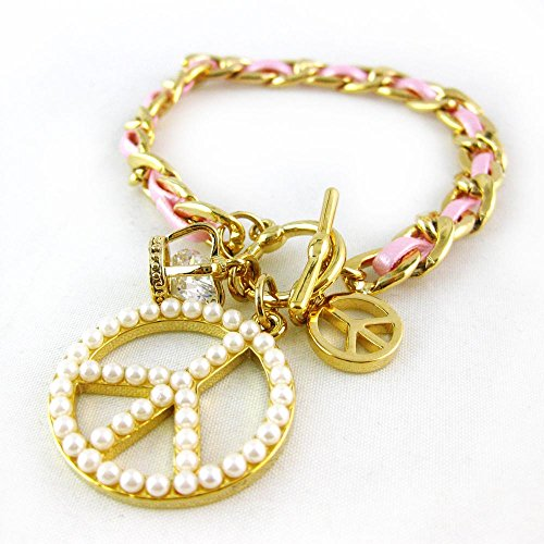 Pink Pearl Peace Sign Bracelet (Modern Crystal Gold Plated Charm Bracelet Fashion Jewelry RSB1348-PK)