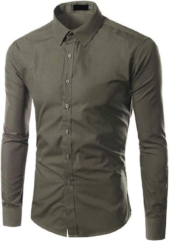 Comaba Mens Lapel Printing Long Sleeve Fashionable Slim Fit Tops Shirt