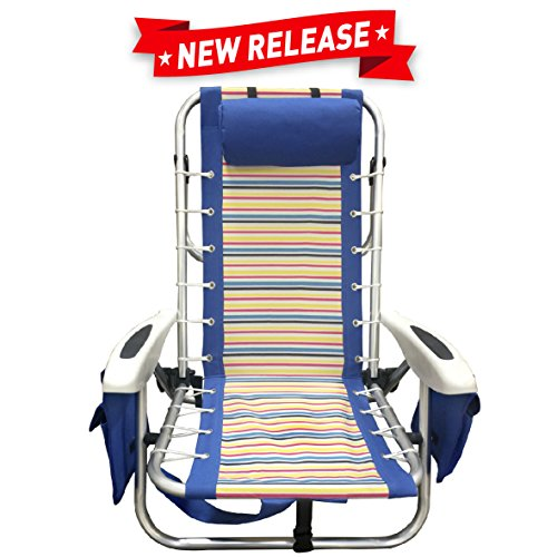 h Chair - Heavy Duty Aluminum Backpack - 4 Position Lightweight Folding Chair Striped ()