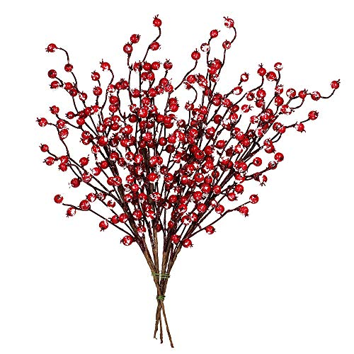 "4 Pack Snowy Red Berry Picks Artificial Berry Spray Christmas Berry Stems Red Berry Twig Branches for Christmas Holiday Winter Floral Arrangement Centerpiece Seasonal Decoration 18.1"" Tall"