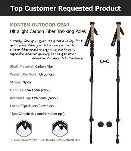 Montem Ultralight Carbon Fiber Hiking/Walking/Trekking Poles One Pair (2 Poles)