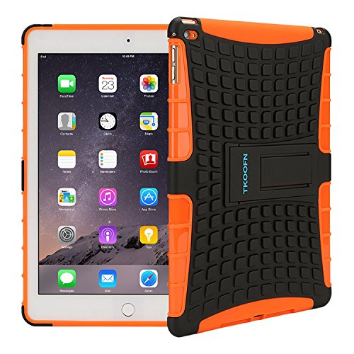 TKOOFN Heavy Duty Silicon Defender Multilayer Protective Skin Military Bumper Antislip Case Cover with Built in Stand for 2014 iPad Air 2 + Screen Protector + Stylus + Cleaning Cloth, Orange