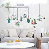 Best Wall Stickers For Bedroom Sofas - huangliao Cactus Hanging Geometric Pots Home Wall Stickers Review