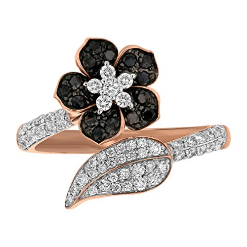 Flower Bypass Ring (Olivia Paris 14k Rose Gold Black and White Diamond Flower Bypass Ring for Women (3/4 cttw) Size 8)