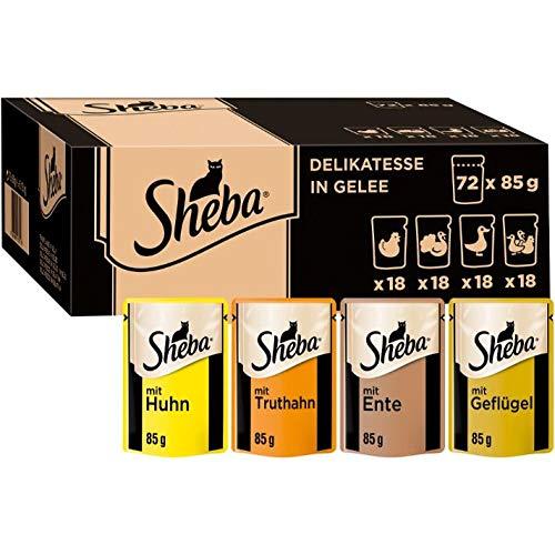 Sheba Delikatesse in Gelee – Hochwertiges Katzen Nassfutter in 85g Portionsbeutel, verschiedene Sorten