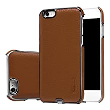 JUNCH iPhone 6/6S Wireless Charging Case,Texture Leather Classic Qi Standard Wireless Charging Receiver Leather Case for iPhone 6/6S(Brown)