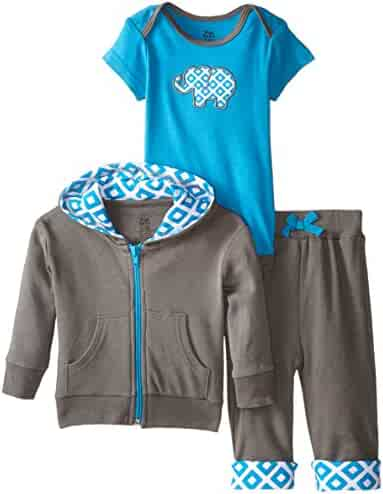 Yoga Sprout Baby-Boys 3 Piece Turtle Hoodie Bodysuit and Pant Set