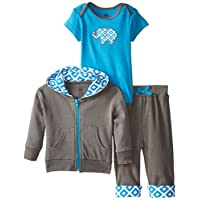 Yoga Sprout Baby-Boys 3 Piece Elephant Hoodie Bodysuit and Pant Set, Blue Ele...